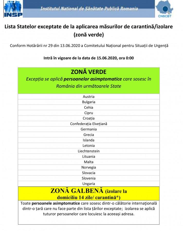 Lista zonelor afectate valabila de la 15.06